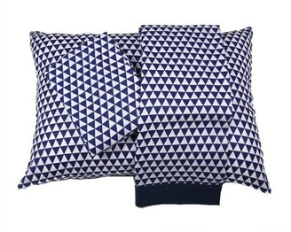 Bacati Aztec/Tribal Navy 3-Piece 100% Cotton breathable Muslin Toddler Bedding Sheet Set, Small Triangles