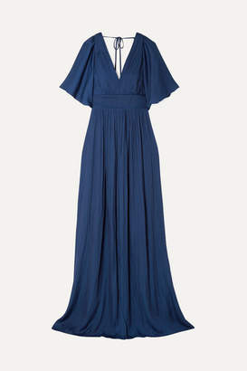 Halston Cape-effect Pleated Crepe De Chine Gown - Navy