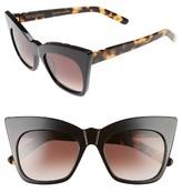 Women's Pared Kohl & Kaftans 52Mm Cat Eye Sunglasses - Black/ Brown