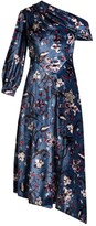 Erdem Jacobina Tulip Dream-print Velvet Gown - Womens - Blue Multi