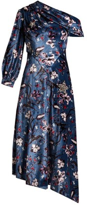 Erdem Jacobina Tulip Dream-print Velvet Gown - Womens - Blue Multi
