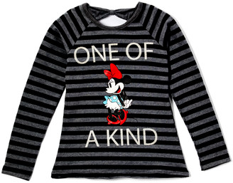 Children's Apparel Network Girls' Tee Shirts DKGRY - Minnie Mouse Black Stripe 'One of a Kind' Long-Sleeve Top - Toddler