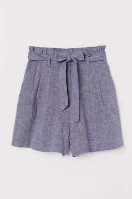 H&M Paper-bag Shorts - Blue