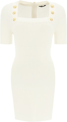 Balmain MINI DRESS WITH GOLD-TONE BUTTONS 36 White, Gold