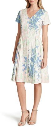 Tahari V-Neck Jacquard Fit & Flare Dress