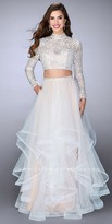 La Femme Two Piece Long Sleeve Tiered A-line Prom Dress