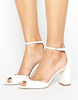 Miss KG Gaze White Mid Block Heeled Sandals