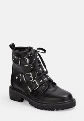 Missguided Black Wide Fit Triple Strap Studded Boots