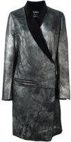 Ann Demeulemeester shawl collar wrap coat - women - Cotton/Leather/Lamb Fur - 38