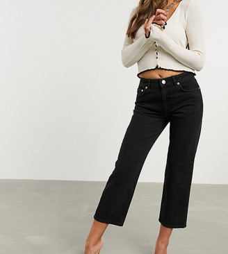 ASOS DESIGN Petite High rise stretch 'slim' straight leg jeans in black