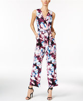 NY Collection Petite Belted Floral-Print Wide-Leg Jumpsuit