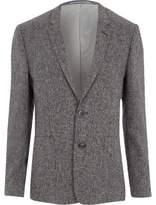 River Island Mens Grey textured skinny fit suit blazer