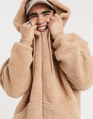 ASOS DESIGN oversized zip up hoodie in beige teddy borg