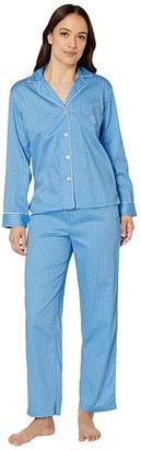 Lauren Ralph Lauren Petite Cotton Rayon Sateen Woven Pointed Notch Collar Long Pants Pajama Set (Blue Dot) Women's Pajama Sets