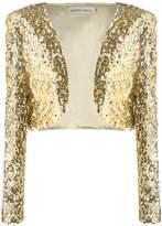 Anna-Kaci Womens Glitter Sequins Shiny Long Sleeve Cropped Bolero Jacket Blazers Shrugs