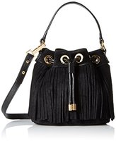 Milly Essex Suede Fringe Small Drawstring Convertible Cross-Body Bag