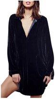 CA Mode Women's Velvet Micro Mini Shirt Dress Top Blouse Tunic
