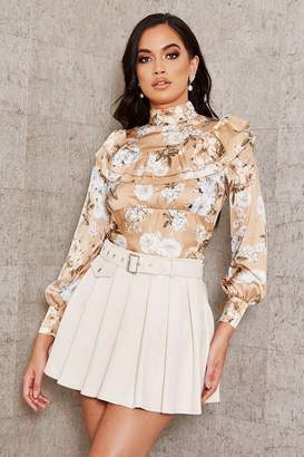 I SAW IT FIRST Cream Suede Pleated Skater Mini Skirt