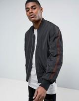 Asos Bomber Jacket With Mesh Sleeve In Black