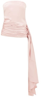 Marina Moscone - Strapless Draped Wool-blend Satin Top - Light Pink