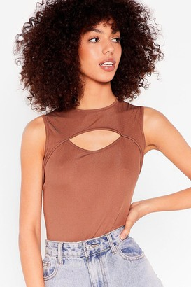 Nasty Gal Womens Pour Your Heart Cut-Out Ribbed Bodysuit - Chocolate