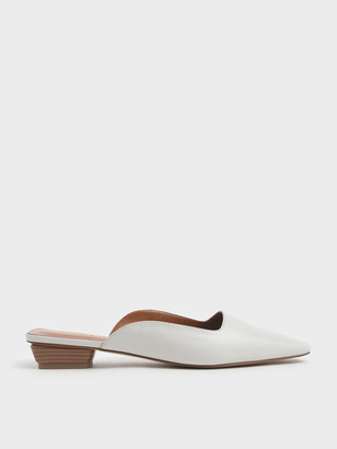 Charles & Keith Square Toe Stacked Heel Mules