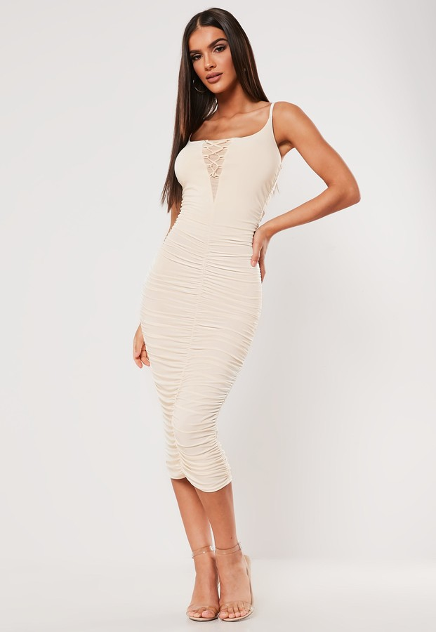 Missguided Sxf X Stone Slinky Ruched Lace Up Midi Dress