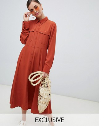 Monki button up midi dress with pockets in rust-Navy