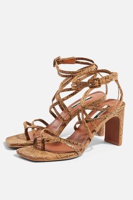 Topshop Womens Raja Leather Natural Strap Mid Sandals - Natural
