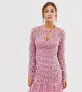 Forever New lace mini dress with laddering detail in pink
