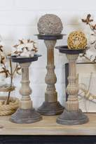 Brown Wood Candle Holders 3-Piece Set