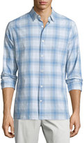 Vince Plaid Linen-Blend Long-Sleeve Sport Shirt, White/Light Blue