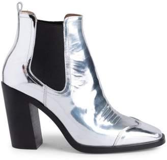Off-White Block Heel Metallic Cowboy Booties