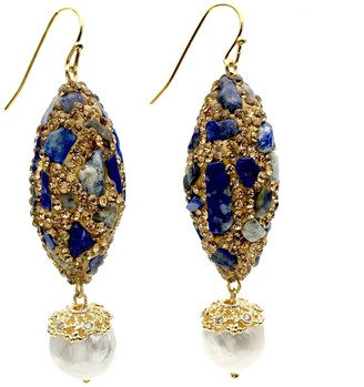 Lapis Rhinestones Bordered Lazuli With Freshwater Pearls Earrings