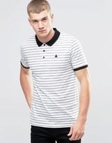 Asos Textured Stripe Polo With Logo In Off White