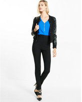 Express mixed texture zip front blouse