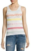 Alice + Olivia Trinity Textured Striped Shell