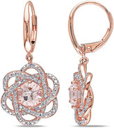 FINE JEWELRY Round Genuine Morganite and 1/4 CT. T.W. Diamond 10K Rose Gold Earrings