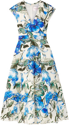 Carolina Herrera Floral-print Silk Crepe De Chine Midi Dress