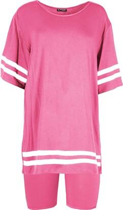 Be Jealous Womens Oversized Stripes T Shirt Cycle Shorts Set Co-Ord Set Rose Plus Size (UK 24/26)