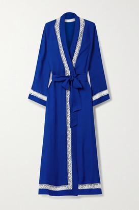 Loretta Caponi Lace-trimmed Silk-georgette Robe - Royal blue