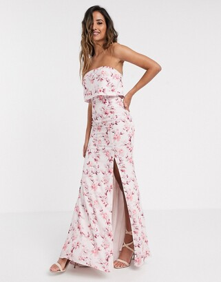 Jarlo overlay bandeau maxi dress in blossom print