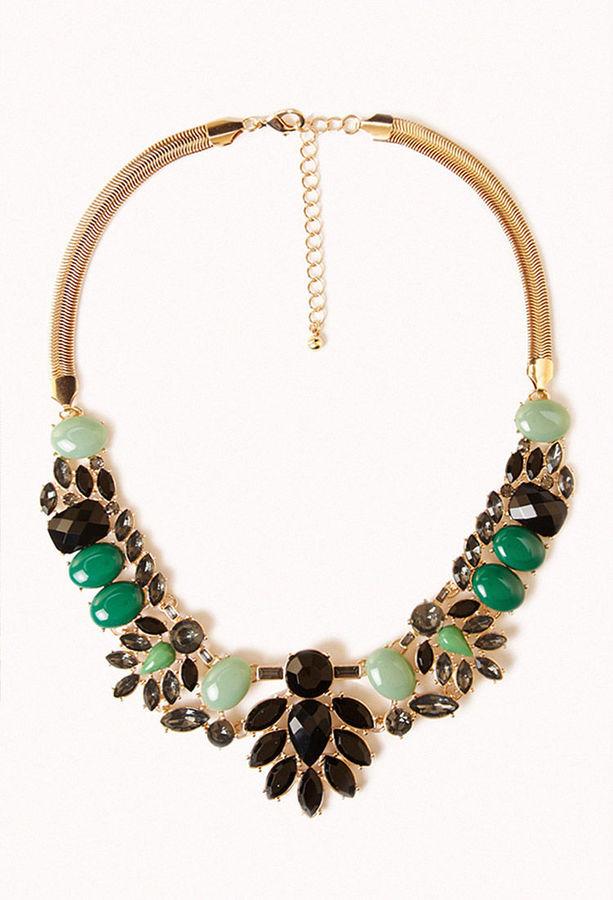 Forever 21 Gemstone Bib Necklace