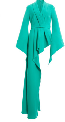 Safiyaa Exclusive Belted Draped Crepe Peplum Top
