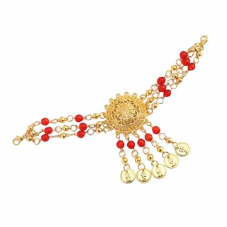 dailymall Women Belly Dance Accessories - Earrings/Necklace/Head Chain - Red Necklace