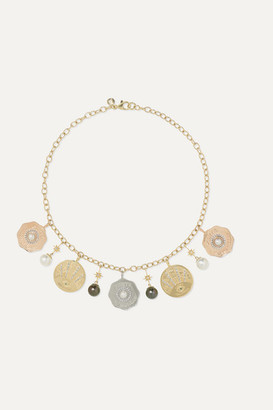 Marlo Laz Coin 14-karat Yellow, Rose And White Gold Pearl, Diamond And Emerald Necklace