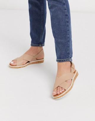 Dune lorde cross strap flat sandals in camel