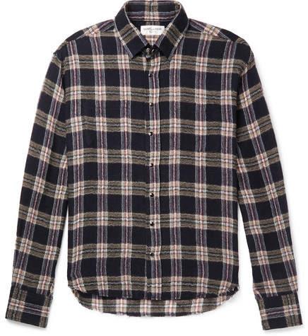 Saint Laurent Slim-Fit Distressed Checked Wool-Blend Shirt