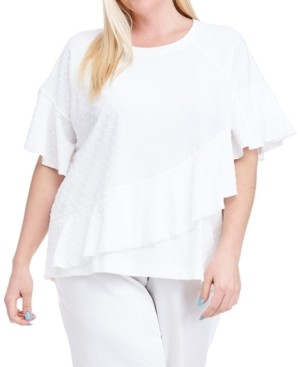Fever Plus Size Ruffled Short-Sleeve Sweatshirt