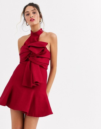 C/Meo Tie Front High Neck Mini Dress In Red